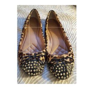 Vince Camuto Gold Studded Ballet Calfskin Flats